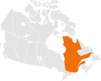 Map of Canada with Québec highlighted