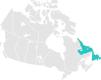 Map of Canada with Terre-Neuve et Labrador highlighted